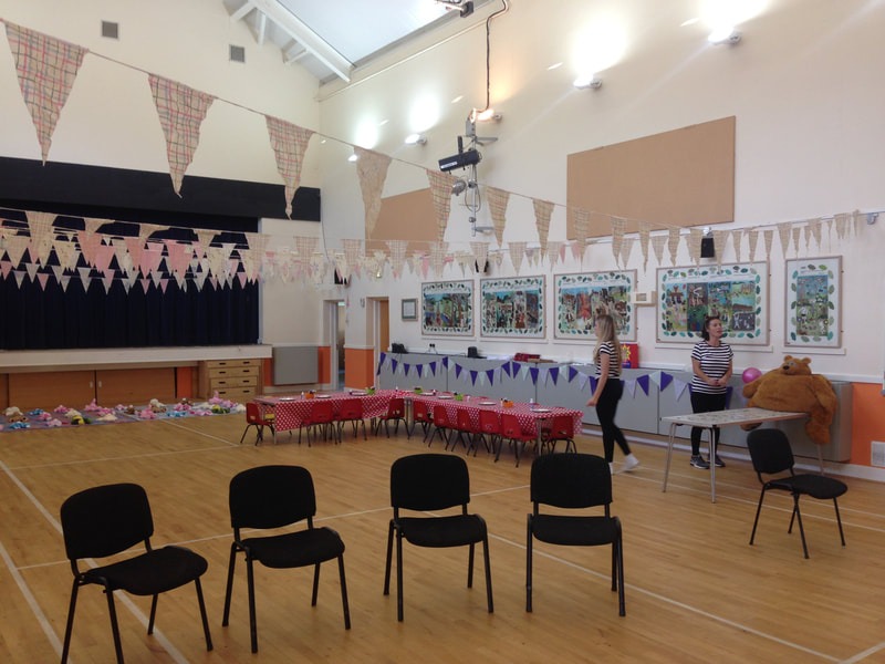 Sedlescombe Village Hall decorated for French gthemed evening